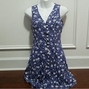 Vintage Corset Back Button Front Floral dress
